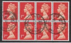 BLOCK OF 8 X 1ST 'BRIGHT ORANGE RED ' (LITHO) (P15 X 14) FINE USED