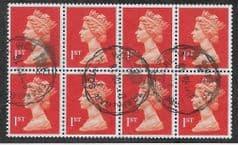 BLOCK OF 8 X 1ST 'BRIGHT ORANGE RED ' (LITHO) (P15 X 14) FINE USED