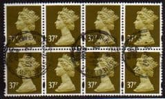 BLOCK OF 8 X 37P 'BROWN OLIVE' FINE USED