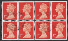 BLOCK OF 8X 1ST 'BT ORANGE RED' (LITHO)(P14) WALSALL FINE USED