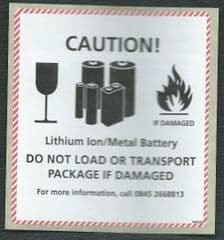 CAUTION - LITHIUM ION/ METAL BATTERY LABEL ( RMDGD2) LABEL