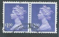 PAIR OF £1.00 'BLUISH VIOLET' (2B)(2003  DE LA RUE PRINTING)  FINE USED