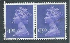 PAIR OF £1.00 'BLUISH VIOLET' (2B)( DIFFERENT PTG)  FINE USED