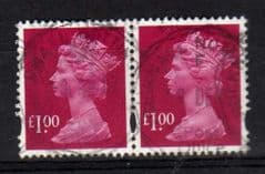 PAIR OF £1.00 RUBY(2007) FINE USED