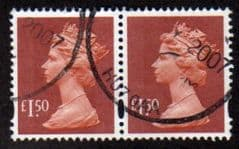 PAIR OF £1.50 'BROWN RED (2003)' FINE USED