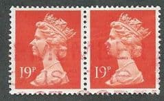 PAIR OF 19P 'BT ORANGE RED (LITHO)(PHOS)  FINE USED