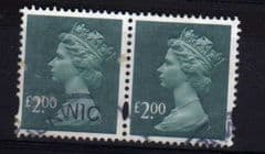 PAIR OF £2.00 'DEEP BLUE GREEN' (2003)  FINE USED