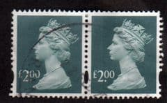 PAIR OF £2.00 'DEEP BLUE GREEN' FINE USED