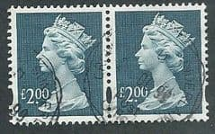 PAIR OF £2.00 'DULL BLUE' (ENSCHEDE ) FINE USED