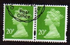 PAIR OF 20P 'BRIGHT GREEN '(2B) FINE USED