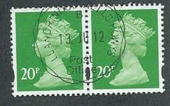 PAIR OF 20P 'BT GREEN' (2B) FINE USED
