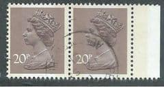 PAIR OF 20P 'DULL PURPLE(P14)(LITHO)(J.W PTG)(2b)'  FINE USED
