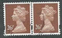 PAIR OF 26P 'RED BROWN' (2B)  FINE USED
