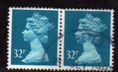 PAIR OF 32P 'GREENISH BLUE' FINE USED