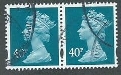 PAIR OF 40P 'TURQUOISE BLUE' (2B)  FINE USED