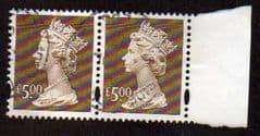PAIR OF £5.00 'BROWN' + MARGIN FINE USED