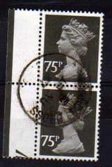PAIR OF 75P BLACK (PERF 15 X 14)FINE USED