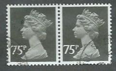 PAIR OF 75P BLACK (PERF 15 X 14)   FINE USED