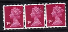STRIP OF £1.00 RUBY(2007)FINE USED