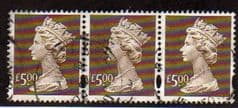 STRIP OF 3 X £5.00 'BROWN 'FINE USED