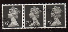 STRIP  OF 3 X 75P'GREY BLACK'(PHOTO) TYPE II FINE USED