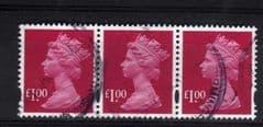 STRIP OF 3X £1.00 RUBY(2007) GOOD USED