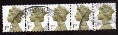 STRIP OF 5  X1ST 'OLIVE BROWN'(2 BANDS)FINE USED
