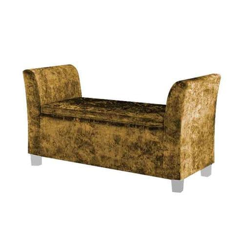 Cambria Window Upholstered Storage Bench - Gold
