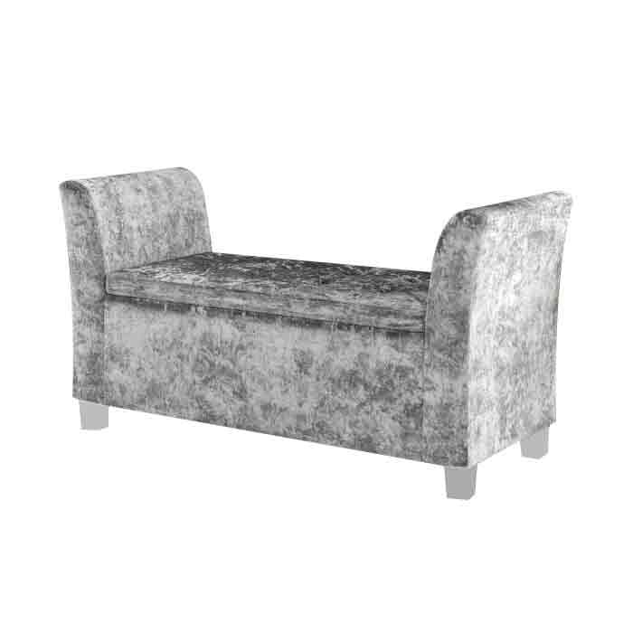 Cambria Window Upholstered Storage Bench - Silver
