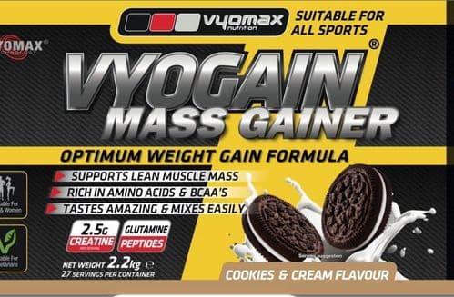 VYOGAIN® MASS GAIN POWDER 2.2KG COOKIES AND CREAM